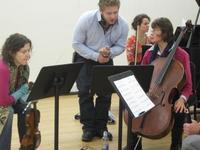 Photo of the Vermont Contemporary Music Ensemble (VCME) rehearsal