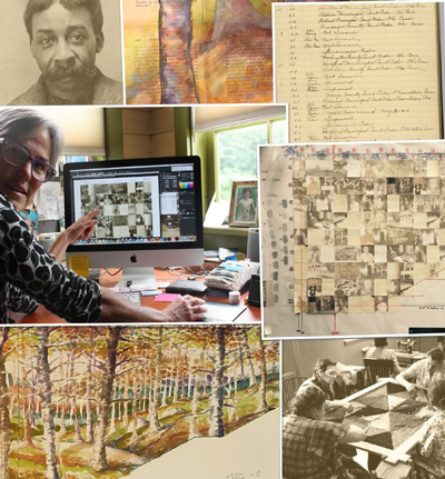 Collage of images of project in progress