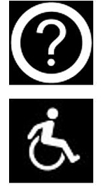 physically accessible and questions logo