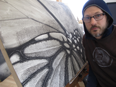Gabe with his partially finished monarch butterfly