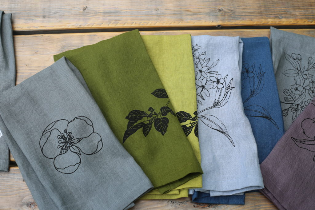 A folded selection of Amsonia products in a variety of colors.