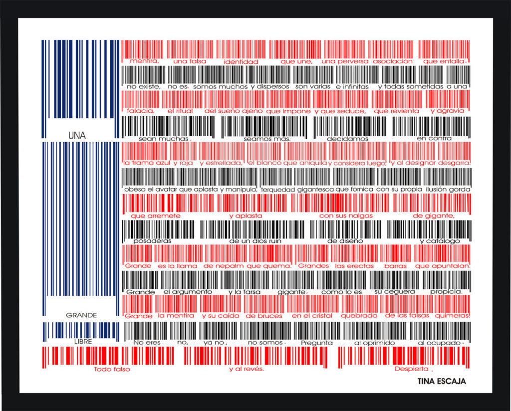 Red, black, and blue barcodes are arranged to look like an American flag. Under each group of barcodes are words in Spanish.