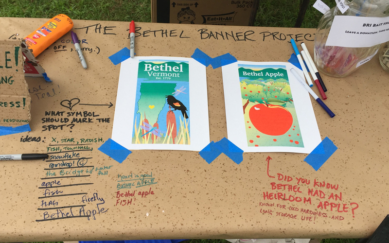 Notes written with marker: Bethel Banner Project. What symbol should mark the spot? x, star, radish, fish, town hall, snowflake, raindrop, firefly, bethel apple. Did you know Bethel had an heirloom apple? Known for cold hardiness and long storage life!