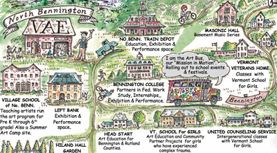 "Illustration includes captions. Illustration includes captions. North Bennington VAE; North Bennington Train Depot, education, exhibition, and performance space; Masonic Hall, basement music series; I am the Art Bus our ""mission in motion"" Rolling out to school events and festivals; Village School of North Bennington, teaching artists run the art program for Pre K through 6th grade! Also a summer art camp site; Left Bank, exhibition and performance space; Bennington College, partners in Fed. work study, internships, exhibition, and performance; Hilton Hall Garden; Head Start, art education for Bennington and Rutland Counties; VT School for Girls, art education and community partner projects for girls who have experienced complex trauma; United Counseling Service, intergenerational classes with Vermont School for Girls."