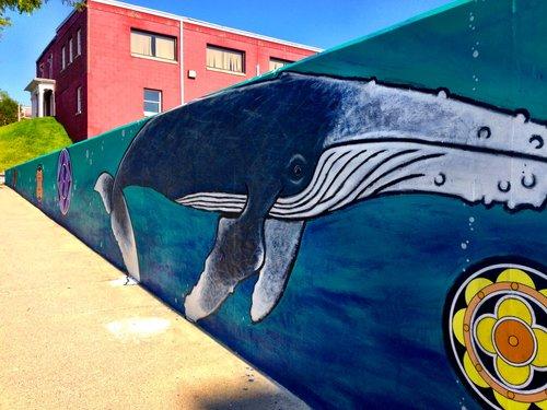 A whale mural in downtown Rutland.
