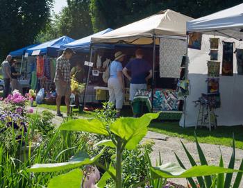 Kiosks at an outdoor art festival in Cambridge, VT