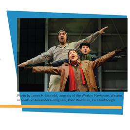 "Photo by James H. Schriebl, courtesy of the Weston Playhouse, Weston. In ""Saint-Ex"": Alexander Gemignani, Price Waldman, Carl Kimbrough"
