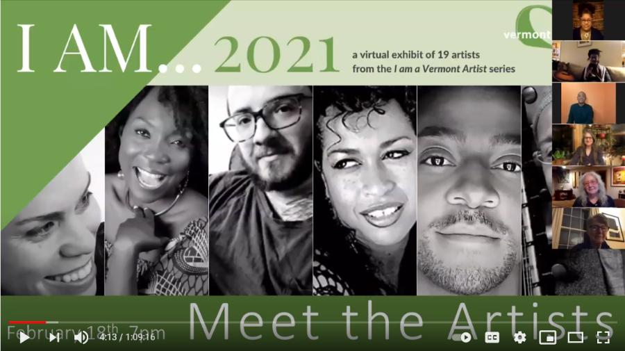 Screenshot of the Zoom event, I AM... 2021: Meet the Artists