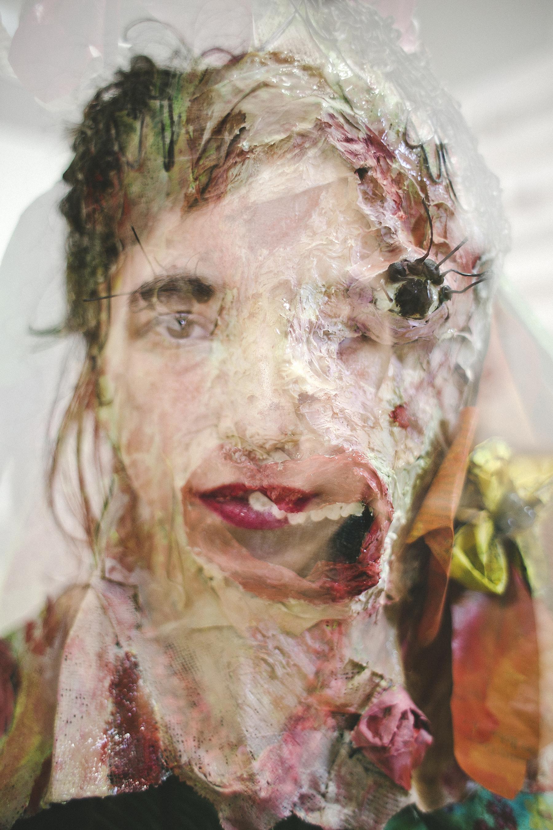 A portrait in collage of artist Estefania Puerta.