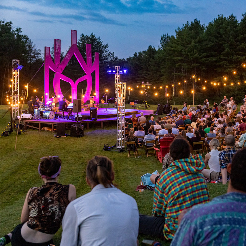 The stage and audience at a Theater on the Hill performance.